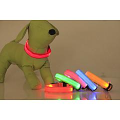 Gatti / Cani Collari Luci a LED / Ajustável/Retrattile Tinta unita Rosso / Verde / Blu / Rosa / Giallo / Arancione Nylon