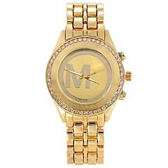 Women Watches Gold Watch Women Fashion Alloy Crystal Letter Quartz Watch