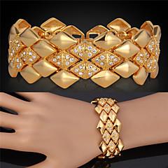 Dames Armbanden met ketting en sluiting Vintage Armbanden Strass Platina Verguld Verguld 18K goud Legering Driehoekige vorm Gouden