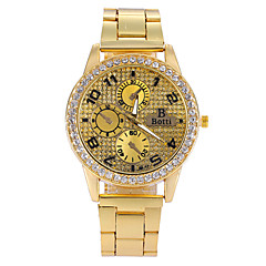 女性は金の時計女性のファッション合金クリスタルクォーツ時計