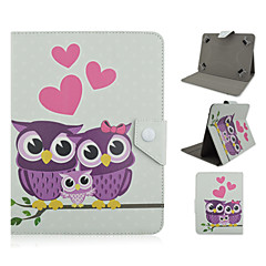 Owl and Love Pattern High Quality PU Leather with Stand Case for 10 Inch Universal Tablet