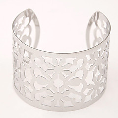 European Style Fashion Hollow Metal Wild Flower Wide Bangles