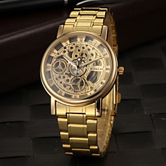 Masculino Relógio de Pulso Quartz Gravação Oca Aço Inoxidável Banda Dourada marca-