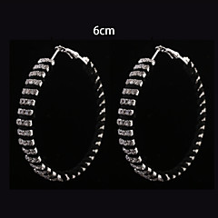 European Fashion  Black   Fabric Three Rows Diamond  Hoop Earrings 6cm Wedding/Party/Daily 2pcs