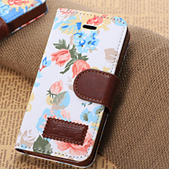 Flowers Pattern Horizontal Flip Leather Case with Card Slots & Holder For iPhone5