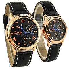 par klassiske dial skinn bandet kvarts analog armbåndsur