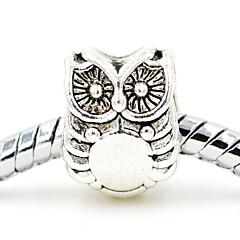 Diy Beads Alloy Simple Owl Animal Shape Large Hole Beads 10Pcs