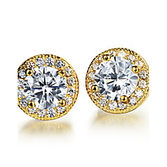 AAA Zircon Stainless Steel 24 K Gold Lucky Earrings