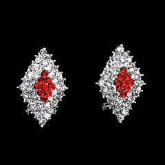 European And American Fashion Three-Color Full Diamond Diamond Earrings Stud Earrings Wedding/Party/Daily/Casual 2pcs