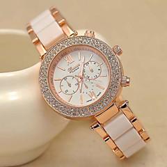 Women's Fashion Geneva Quartz Watch Sparkle Crystal Case Gold Steel Strap
