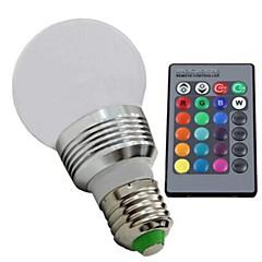 3W E26/E27 Lampadine globo LED 1 LED ad alta intesità 100—130LM(lm) lm Colori primari Intensità regolabile / Controllo a distanzaAC