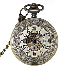 Men's Retro Hollow Out Roman Numbers Mechanical Pocket Watch Brand New Mechanical Hand Wind Watches Cool Watch Unique Watch