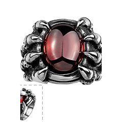 Classical Generous Men's Hold Gem with Bear's Claws Red Cubic Zirconia Stainless Steel  Ring(Black)(1Pc)