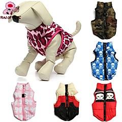 Γάτες Σκυλιά Παλτά Veste Κόκκινο Πράσινο Μπλε Ροζ Τριανταφυλλί Ρούχα για σκύλους Χειμώνας Άνοιξη/Χειμώνας Νεκροκεφαλές καμουφλάζ