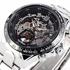 män auto-mekaniskt skelett silver stålband armbandsur