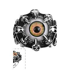 anillo de acero inoxidable clásicas de los hombres individuales colores de la resina del ojo de gato (negro) (1 unidad) de la joyería