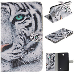 White Tiger Pattern PU Leather Full Body Case with Card for Samsung Tab 4 7.0 T230/Tab 3 Lite T110/Tab 3 8.0 T310 T311