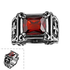 Fashion Generous Men's Red Cubic Zirconia Cross Stainless Steel Ring(Black)(1Pcs)
