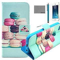 Coco fun® padrão de macarons coloridos estojo de couro pu com protetor de tela e cabo USB e caneta para iPhone 5 / 5s