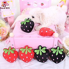 Dog Toy Pet Toys Chew Toy Plush Toy Squeak / Squeaking Fruit Textile Black Red