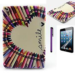 färgar ritar leende hjärtmönster TPU mjuk baksida täcker fallet för iPad mini 3 / iPad mini 2 / iPad mini