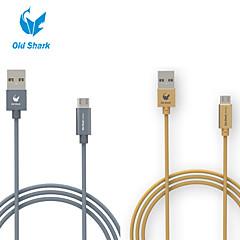 viejo tiburón ™ 3 pies de nylon de fibra micro de datos cable de carga USB para Samsung s6 galaxia y otros