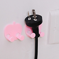 Apple Shaped Self-adhesive Creative Bath Paste Linked Hook Power Cord Plug Holder Sticky