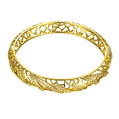 Classical Diamante Geometric Graph Style 5.6*5cm Women's Multicolor Gold-Plated Brass Bangles(Golden&Rose Gold)(1 Pc)