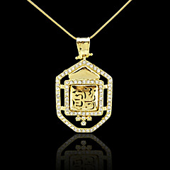 18K Real Gold Plated Allah Muslim Islamic Zircon Pendant 2.7*5CM