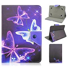 7インチユニバーサルタブレット用スタンドケースと蝶のパターン高品質PUレザー