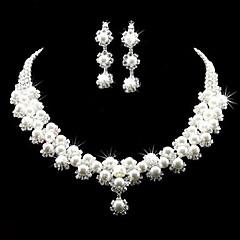 Collier / Boucles d'Oreille (Plaqué Argent / Alliage / Zircon Cubique / Imitation Perle) Mignon / Soirée pour Femme