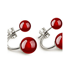 Women's Cute Natural Double Agate Stud Earrings