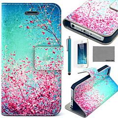 COCO FUN® Sky Red Floral Pattern PU Leather Case with Screen Protector and USB Cable and Stylus for iPhone 5/5S