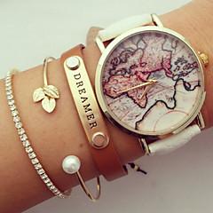 unisex világtérképet stílusú karóra / vintage világtérképet / antik világ térkép / női karóra / női prémium műbőr karóra