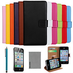 COCO FUN® Luxury Ultral Slim Solid Color Genuine Leather Case with Screen Protector,Cable and Stylus for iPhone 4/4S