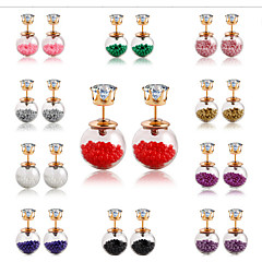 New Arrival 2015 Summer Style Glass Stud Earring Pearl Fine Jewelry Fashion Transparent Crystal Ball Earrings for Women