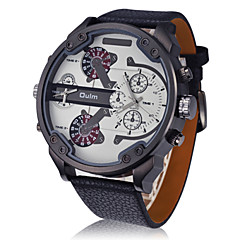 OULM® Men's Dual Time Military Watch Aviator Design Big Dial Leather Strap Cool Watch Unique Watch