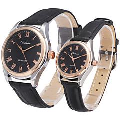Couple's Business Style Gold Dial Leather Strap Band Quartz Fashion Wristwatch