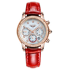 GUANQIN® Women Japanese Quartz Watch Multifunction Diamond Luminous Waterproof Crystal Steel and Leather 30mm Watch Cool Watcheses With Watch Box