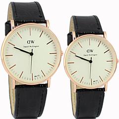paar eenvoudige en casual ronde wijzerplaat Belt Fashion quartz horloges
