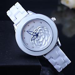 Damen Modeuhr Quartz Keramik Band Blume Weiß Marke-