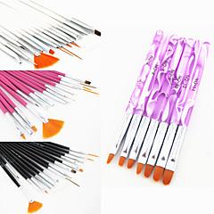 15PCS Acrylic Nail Art Design Painting Drawing Pen Brush(3 Color Choose)with 7PCS UV Gel Brush Set Nylon Hair