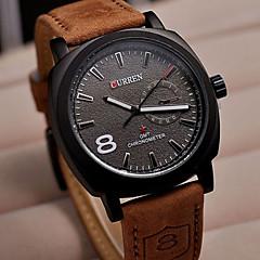 CURREN Masculino Relógio de Pulso Quartzo Couro Banda Marrom Branco Preto