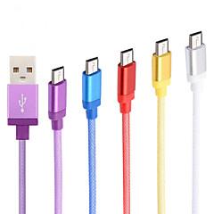 aluminiumslegering høj kvalitet 1m micro usb data kabel til Samsung mobiltelefoner og andre (assorterede farver)