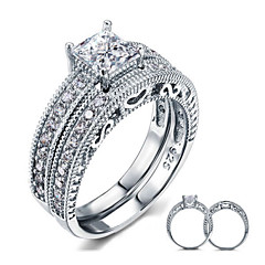 Pierścionki dla par Srebro standardowe Cyrkonia Pokryte piórami Round Shape Elegancki Biżuteria Ślub Impreza Codzienny Casual 2pcs