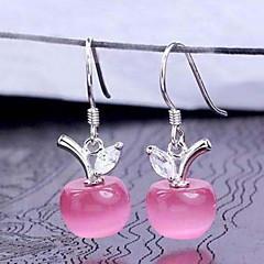 Woman Opal Apple Silver Earrings