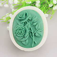 Two roses Shaped  Soap Molds Mooncake Mould Fondant Cake Chocolate Silicone Mold, Decoration Tools Bakeware