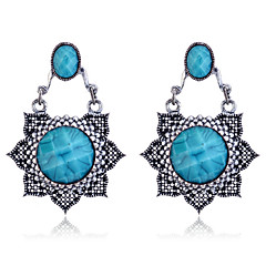 European Style Retro Resin Gem Flower Alloy Drop Earrings
