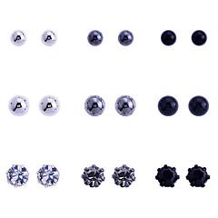 European Style Retro Drill Resin  Flower Glaze Ball Alloy Stud Earrings(9 Pairs A Set)