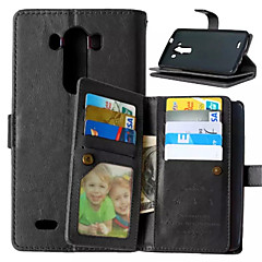 For LG Case Card Holder / Wallet / with Stand / Flip Case Full Body Case Solid Color Hard PU Leather for LGLG K10 / LG K8 / LG K7 / LG G5